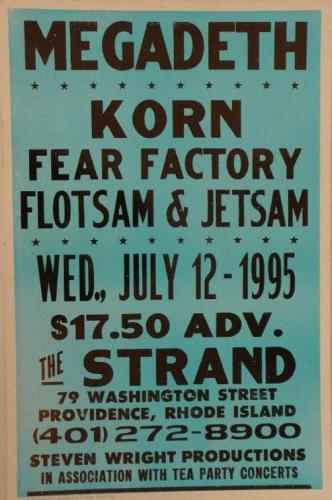 Megadeath Korn Fear Factory Flotsam and Jetsam at The Strand | Image via PosterScene