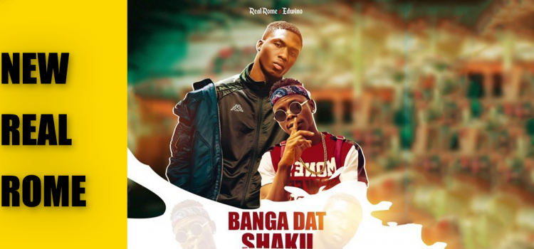 "header image featuring the cover art for Real Rome and Edwino's newest single ""banga dat/shaku"""