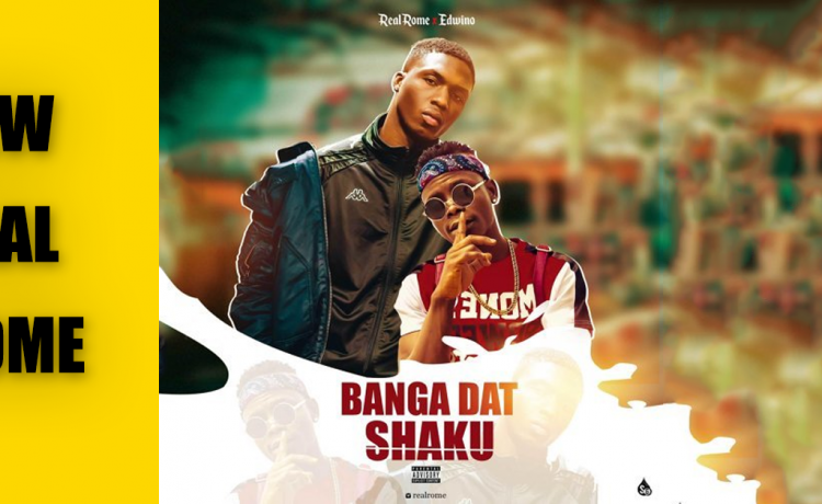 """header image featuring the cover art for Real Rome and Edwino's newest single """"banga dat/shaku"""""""