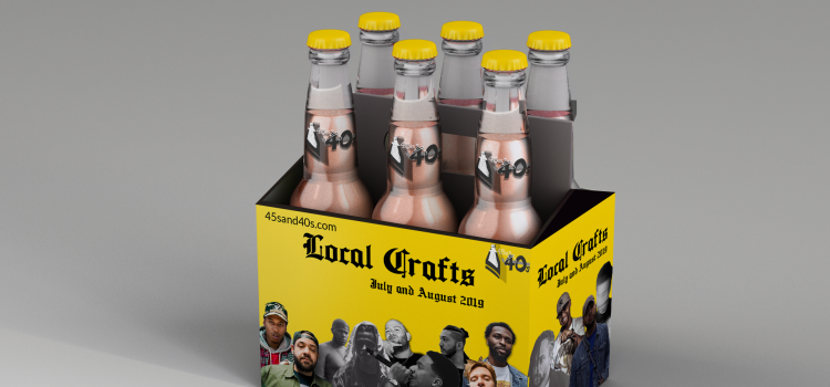 cover for local crafts for july and august 2019 featuring a 6 pack of beer bottles and a custom made package with photos of some of the featured artists