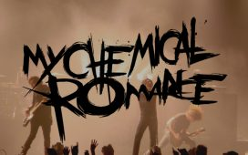 my chemical romance logo over a photo of their concert